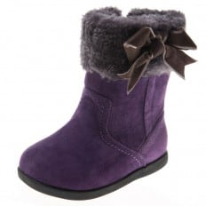 Little Blue Lamb - Zapatos de suela de goma blanda niñas | Botas de color púrpura de terciopelo