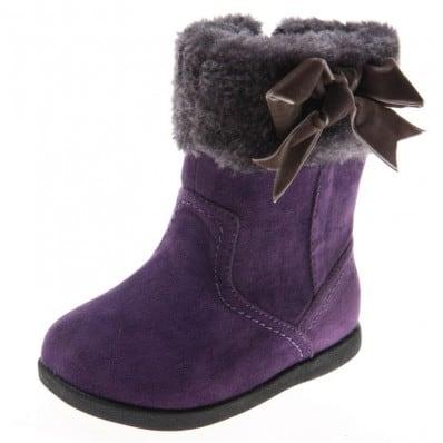 Little Blue Lamb - Chaussures semelle souple | Bottes velours violet