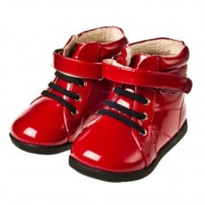 Little Blue Lamb - Soft sole girls Toddler kids baby shoes | Red shiny bootees