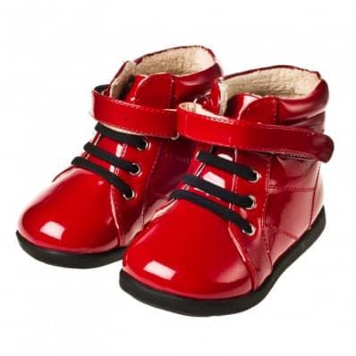 Little Blue Lamb - Chaussures semelle souple   Bottines rouge brillant