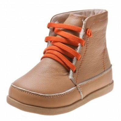 Little Blue Lamb - Chaussures semelle souple | Bottines beige lacets orange C2BB - chaussons, chaussures, chaussettes pour bébé