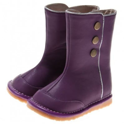 Little Blue Lamb - Squeaky Leather Toddler Girls Shoes | Purple winter boots