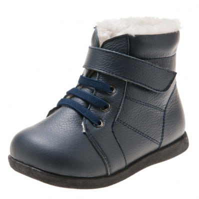 Little Blue Lamb - Soft sole boys Toddler kids baby shoes | Navy blue bootees