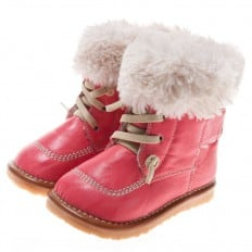 Little Blue Lamb - Squeaky Leather Toddler Girls Shoes | Pink filled bootees