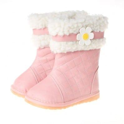 Little Blue Lamb - Chaussures à sifflet | Bottes hiver fourrées rose