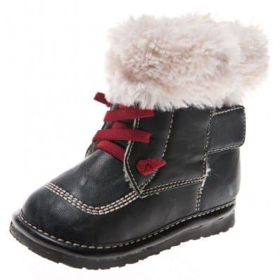 Little Blue Lamb - Chaussures à sifflet garçon | Bottines hiver fourrées noir lacets rouge