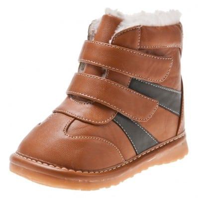 Little Blue Lamb - Chaussures à sifflet garçon | Bottines marron 2 velcro