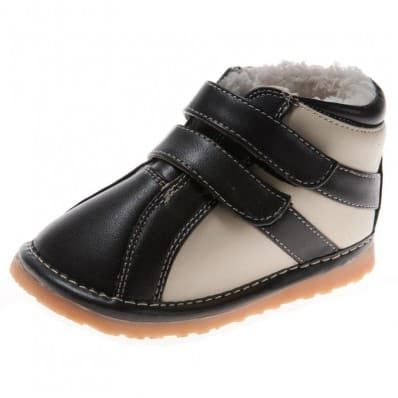 Little Blue Lamb - Squeaky Leather Toddler boys Shoes | White and black