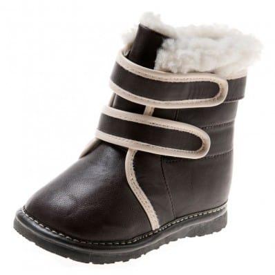 Little Blue Lamb - Zapatos de cuero chirriantes - squeaky shoes niños   Botines negros y blanca