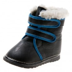 Little Blue Lamb - Squeaky Leather Toddler boys Shoes | Black and blue bootees