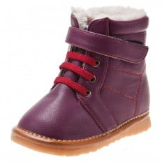 Little Blue Lamb -  Squeaky Leather Toddler Girls Shoes | Purple bootees