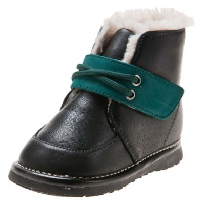 Little Blue Lamb - Squeaky Leather Toddler boys Shoes | Black bootees green velcro