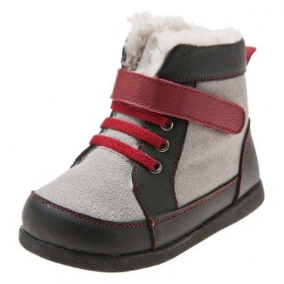 Little Blue Lamb - Zapatos de suela de goma blanda niños | Botines gris cordones rojo