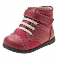 Little Blue Lamb - Zapatos de suela de goma blanda niñas | Botines rosa cordones blanco