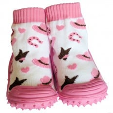 Baby girls Socks shoes with grippy rubber | Pink hat