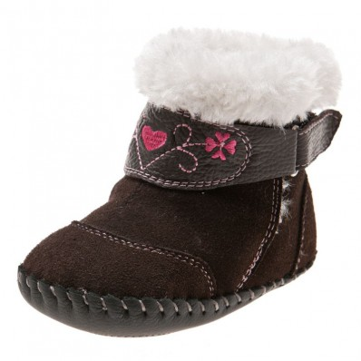 Little Blue Lamb - Baby girls first steps soft leather shoes | Brown velvet bootees