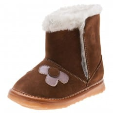 Little Blue Lamb - Squeaky Leather Toddler boys Shoes   Brown boots