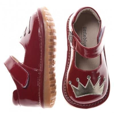 Little Blue Lamb - Chaussures à sifflet | Rouge couronne argentée cérémonie