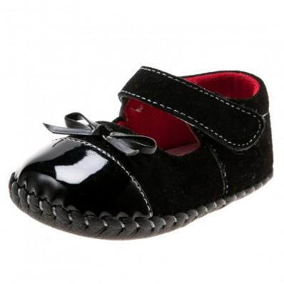 Little Blue Lamb - Chaussures premiers pas cuir souple | Noir brillant cérémonie