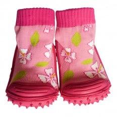Hausschuhe - Socken Baby Kind geschmeidige Schuhsohle Mädchen | Rose Kirschblumen