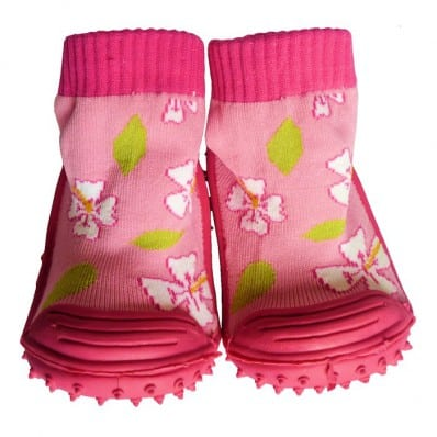 Baby girls Socks shoes with grippy rubber | Cherry flower