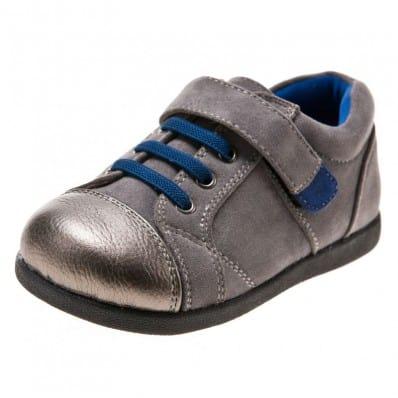 Little Blue Lamb - Chaussures semelle souple | Baskets gris et argenté