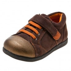 Little Blue Lamb - Soft sole boys Toddler kids baby shoes | Brown and orange sneakers