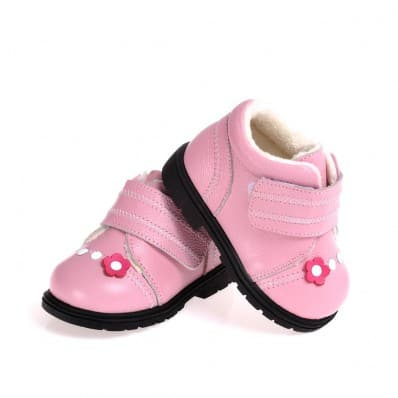 CAROCH - Soft sole girls kids baby shoes | Pink with fushia flower filled booties