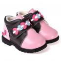 CAROCH - Krabbelschuhe Babyschuhe Leder - Mädchen | Rosa und schwarz gefüllte stiefel