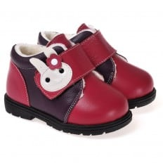 CAROCH - Soft sole girls kids baby shoes   Pink with rabit filled booties