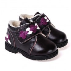 CAROCH - Soft sole girls kids baby shoes | Black filled booties