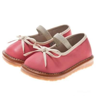 Little Blue Lamb - Chaussures à sifflet | Ballerines rose noeud blanc