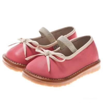 Little Blue Lamb - Chaussures à sifflet | Ballerines rose noeud blanc