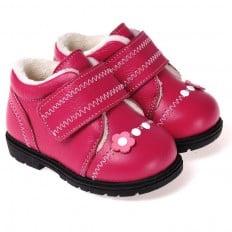 CAROCH - Zapatos de suela de goma blanda niñas | Montantes forradas fushia flor rosa