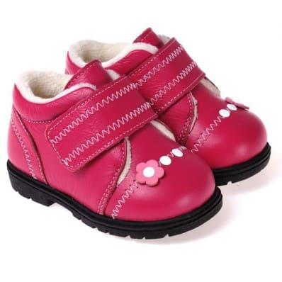 CAROCH - Chaussures semelle souple | Montantes fourrées fushia fleur rose