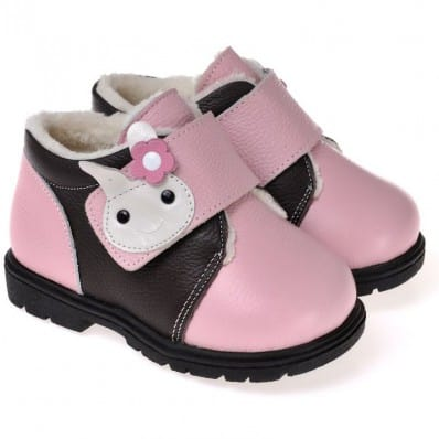 CAROCH - Soft sole girls kids baby shoes | Pink with rabit filled booties