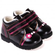 CAROCH - Soft sole girls kids baby shoes   Fushia with pink flower filled booties