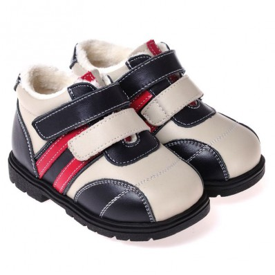 CAROCH - Soft sole boys Toddler kids baby shoes | Blue, white and red filled booties
