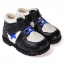 CAROCH - Soft sole boys Toddler kids baby shoes | Black with blue star filled booties