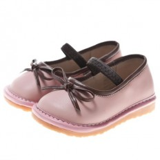 Little Blue Lamb - Squeaky Leather Toddler Girls Shoes |  Pink ballerina