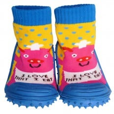 Baby boys Socks shoes with grippy rubber | Pink pig cook