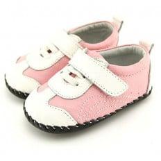 FREYCOO - Chaussures premiers pas cuir souple | Baskets rose et blanche