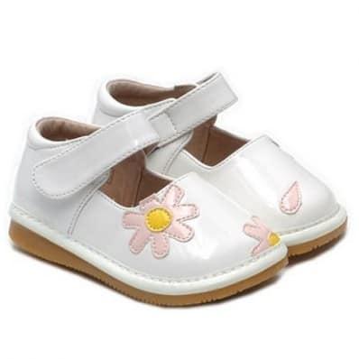 Little Blue Lamb - Zapatos de cuero chirriantes - squeaky shoes niñas | Blanco flor rosa ceremonia