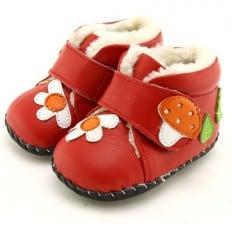 FREYCOO - Chaussures premiers pas cuir souple | Bottines fourrées rouge champignon