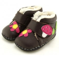 FREYCOO - Baby girls first steps soft leather shoes | Brown filled bootees with a mushroom