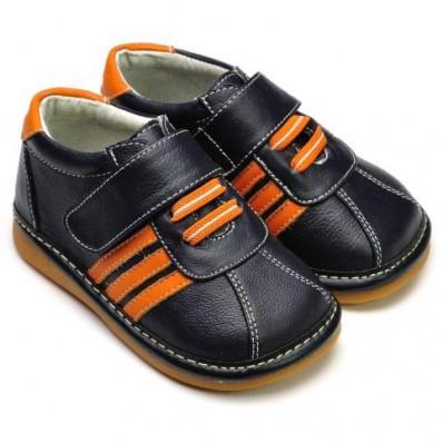 FREYCOO - Chaussures à sifflet | Basket noires lacets orange