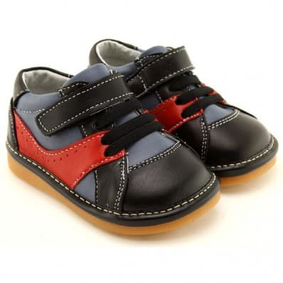 FREYCOO - Squeaky Leather Toddler boys Shoes | Black and red sneakers