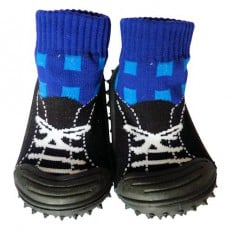 Baby boys Socks shoes with grippy rubber | Black and blue sneakers