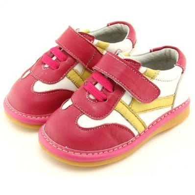 FREYCOO - Squeaky Leather Toddler Girls Shoes | Pink and white sneakers
