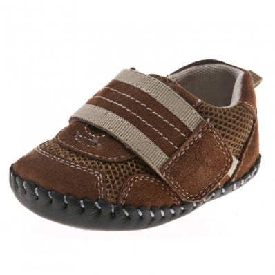 Little Blue Lamb - Chaussures premiers pas bébé en cuir souple | Baskets marron